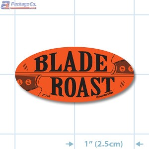 Blade Roast Fluorescent Red Oval Merchandising Labels - Copyright - A1PKG.com SKU - 20744