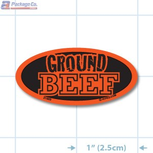 EXCLUSIVE- Ground Beef Fluorescent Red Oval Merchandising Labels PQG (1x2 inch) 1000/Roll