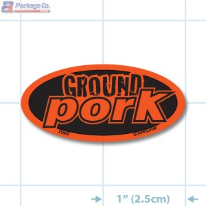 EXCLUSIVE- Ground Pork Fluorescent Red Oval Merchandising Labels PQG (1x2 inch) 1000/Roll