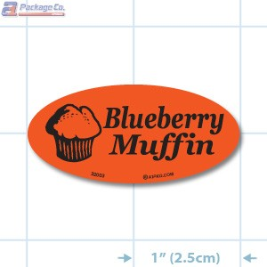Blueberry Muffin Fluorescent Red Oval Merchandising Labels - Copyright - A1PKG.com SKU - 32003
