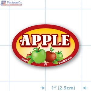 Apple Full Color Oval Merchandising Labels - Copyright - A1PKG.com SKU -  33101