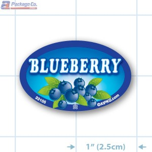 Blueberry Full Color Oval Merchandising Labels - Copyright - A1PKG.com SKU -  33105