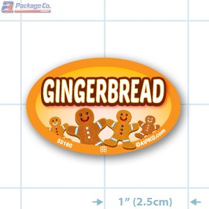 Gingerbread Full Color Oval Merchandising Labels - Copyright - A1PKG.com SKU -  33160