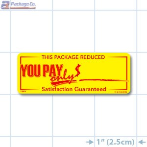 Package Reduced Bright Yellow Merchandising Labels - Copyright - A1PKG.com SKU # 99914