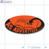 As Advertised Fluorescent Red Oval Merchandising Labels - Copyright - A1PKG.com SKU - 10101