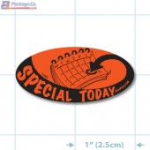 Special Today Fluorescent Red Oval Merchandising Label Copyright A1PKG.com - 10102