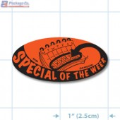 Special of the Week Fluorescent Red Oval Merchandising Labels - Copyright - A1PKG.com SKU - 10103