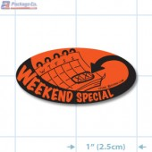 Weekend Special Fluorescent Red Oval Merchandising Labels - Copyright - A1PKG.com SKU # 10104