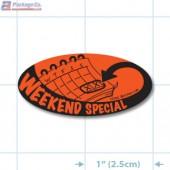 Weekend Special Fluorescent Red Oval Merchandising Labels - Copyright - A1PKG.com SKU # 10104