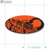 Store Special Fluorescent Red Oval Merchandising Labels - Copyright - A1PKG.com SKU # 10105
