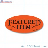Featured Item Fluorescent Red Oval Merchandising Labels - Copyright - A1PKG.com SKU - 10212