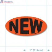 New Fluorescent Red Oval Merchandising Labels - Copyright - A1PKG.com SKU - 10215