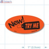 New Try Me Fluorescent Red Oval Merchandising Labels - Copyright - A1PKG.com SKU # 10216