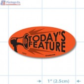 Today's Feature Fluorescent Red Oval Merchandising Labels - Copyright - A1PKG.com SKU - 10218