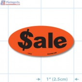 Sale Fluorescent Red Oval Merchandising Labels - Copyright - A1PKG.com SKU - 10324