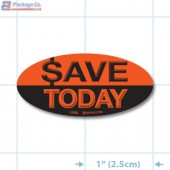 Save Today Fluorescent Red Oval Merchandising Labels - Copyright - A1PKG.com SKU - 1032