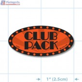 Club Pack Fluorescent Red Oval Merchandising Labels - Copyright - A1PKG.com SKU - 10427