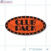 Club Pack Fluorescent Red Oval Merchandising Labels - Copyright - A1PKG.com SKU - 10427