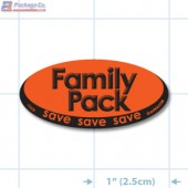 Family Pack Fluorescent Red Oval Merchandising Labels - Copyright - A1PKG.com SKU # 10428