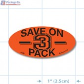Save on 3 Pack Fluorescent Red Oval Merchandising Labels - Copyright - A1PKG.com SKU - 10430