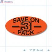 Save on 3 Pack Fluorescent Red Oval Merchandising Labels - Copyright - A1PKG.com SKU - 10430