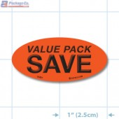 Value Pack Save Fluorescent Red Oval Merchandising Labels - Copyright - A1PKG.com SKU - 10431