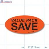 Value Pack Save Fluorescent Red Oval Merchandising Labels - Copyright - A1PKG.com SKU - 10431