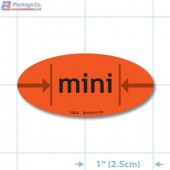 Mini Fluorescent Red Oval Merchandising Labels - Copyright - A1PKG.com SKU - 10533
