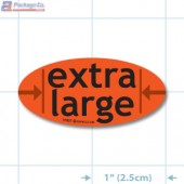 Extra Large Fluorescent Red Oval Merchandising Labels - Copyright - A1PKG.com SKU - 10537