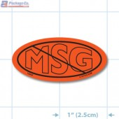 No MSG Fluorescent Red Oval Merchandising Labels PQG (1x2 inch) 500/Roll