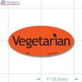 Diet Vegetarian Fluorescent Red Oval Merchandising Labels - Copyright - A1PKG.com SKU - 10642