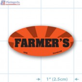 Farmer's Fluorescent Red Oval Merchandising Label Copyright A1PKG.com - 10703