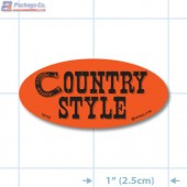 Country Style Fluorescent Red Oval Merchandising Labels - Copyright - A1PKG.com SKU - 10743