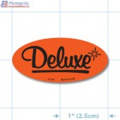 Deluxe Fluorescent Red Oval Merchandising Labels - Copyright - A1PKG.com SKU - 10744