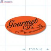 Gourmet Cut Fluorescent Red Oval Merchandising Labels - Copyright - A1PKG.com SKU - 10745