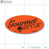 Gourmet Style Fluorescent Red Oval Merchandising Labels - Copyright - A1PKG.com SKU # 10746