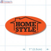 Home Style Fluorescent Red Oval Merchandising Labels - Copyright - A1PKG.com SKU - 10747