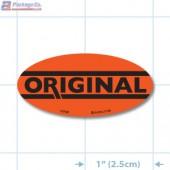 Original Fluorescent Red Oval Merchandising Labels - Copyright - A1PKG.com SKU - 10749