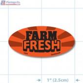 Farm Fresh Fluorescent Red Oval Merchandising Labels - Copyright - A1PKG.com SKU - 10855