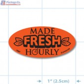 Made Fresh Hourly  Fluorescent Red Oval Merchandising Labels - Copyright - A1PKG.com SKU - 10857
