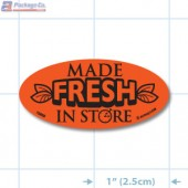 Made Fresh In Store Fluorescent Red Oval Merchandising Labels - Copyright - A1PKG.com SKU - 10858