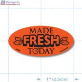 Made Fresh Today Fluorescent Red Oval Merchandising Labels - Copyright - A1PKG.com SKU - 10859