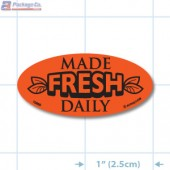 Made Fresh Daily Fluorescent Red Oval Merchandising Labels - Copyright - A1PKG.com SKU - 10860