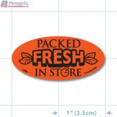 Packed Fresh In Store Fluorescent Red Oval Merchandising Labels - Copyright - A1PKG.com SKU - 10861