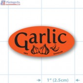 Garlic Fluorescent Red Oval Merchandising Label Copyright A1PKG.com - 10910