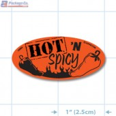 Hot 'n Spicy Fluorescent Red Oval Merchandising Labels - Copyright - A1PKG.com SKU - 10964