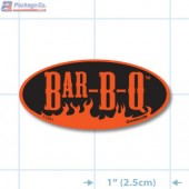 Bar-B-Q Fluorescent Red Oval Merchandising Labels - Copyright - A1PKG.com SKU - 11001