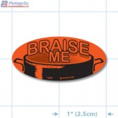 Braise Me Fluorescent Red Oval Merchandising Labels - Copyright - A1PKG.com SKU - 11003