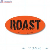 Roast Fluorescent Red Oval Merchandising Labels - Copyright - A1PKG.com SKU - 11009