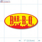 Bar-B-Q Bright Yellow Oval Merchandising Labels - Copyright - A1PKG.com SKU - 11011